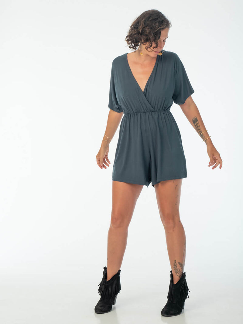 womens loose fit natural jersey teal one piece shortsie romper #color_teal