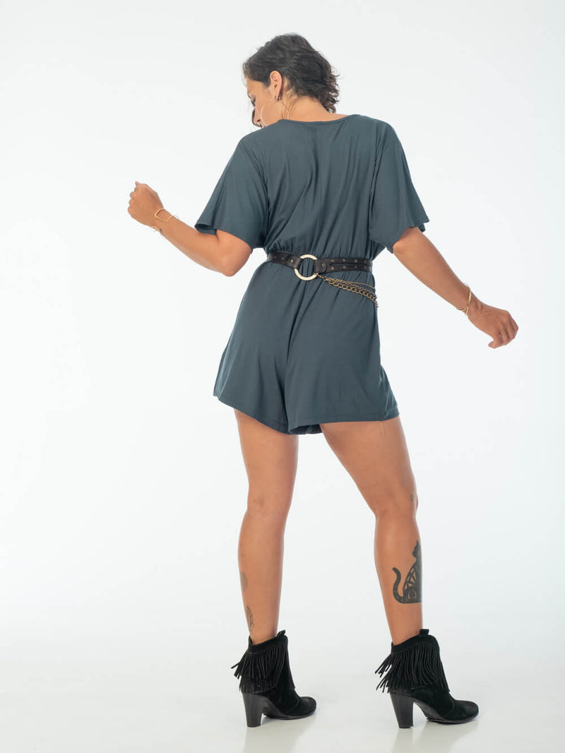 womens loose fit natural jersey teal one piece shortsie romper with hipstirr belt #color_teal