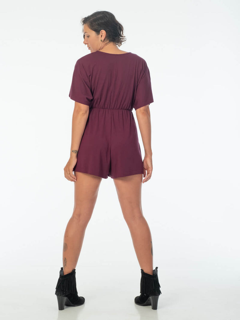 womens loose fit natural jersey jam one piece shortsie romper #color_jam
