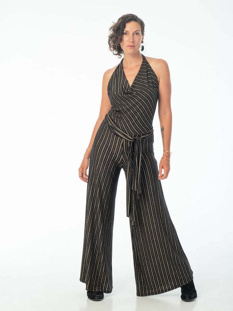women's lightweight rayon jersey black and gold striped halter jumpsuit