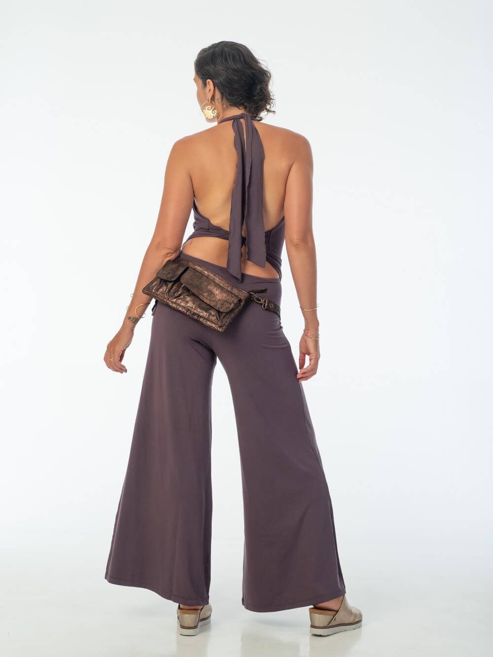 women's natural rayon jersey stretchy halter one-piece jumpsuit in steel grey#color_steel