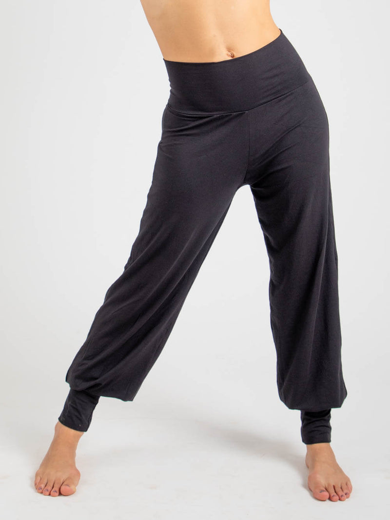 womens natural jersey comfortable loose fit balloon pants with fold over waistband in black  #color_black