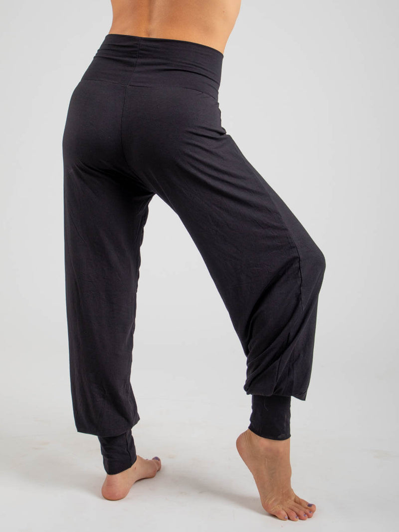 womens natural jersey comfortable loose fit balloon pants with fold over waistband in black side view #color_black