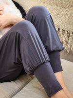 womens natural jersey comfortable loose fit balloon pants detail of the bottom in steel #color_steel