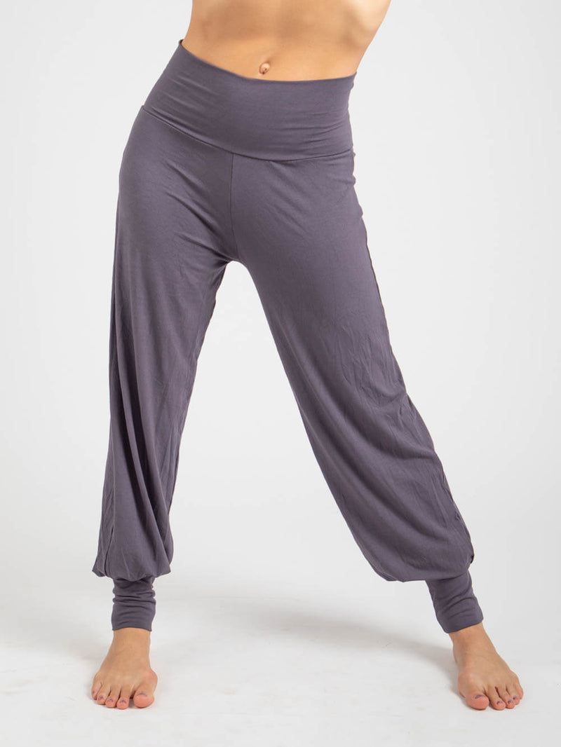 womens natural jersey comfortable loose fit balloon pants with fold over waistband in steel #color_steel