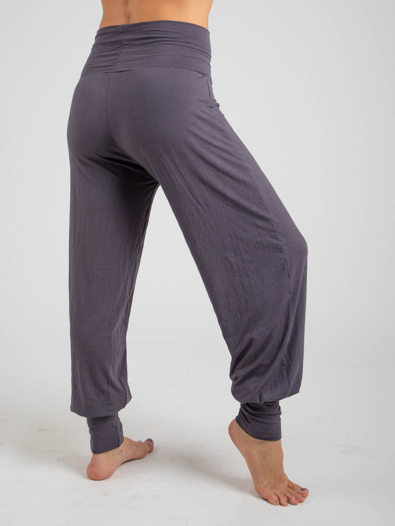womens natural jersey comfortable loose fit balloon pants with fold over waistband in steel side view #color_steel