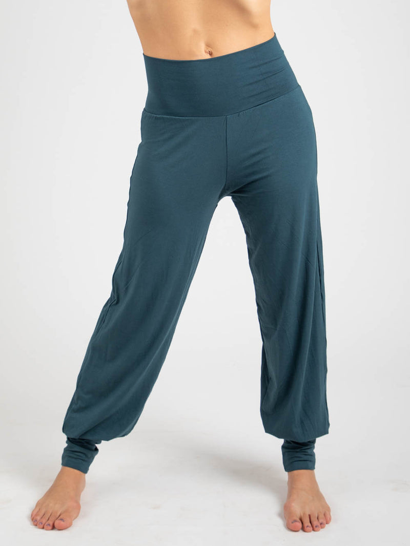womens natural jersey comfortable loose fit balloon pants with fold over waistband in teal #color_teal