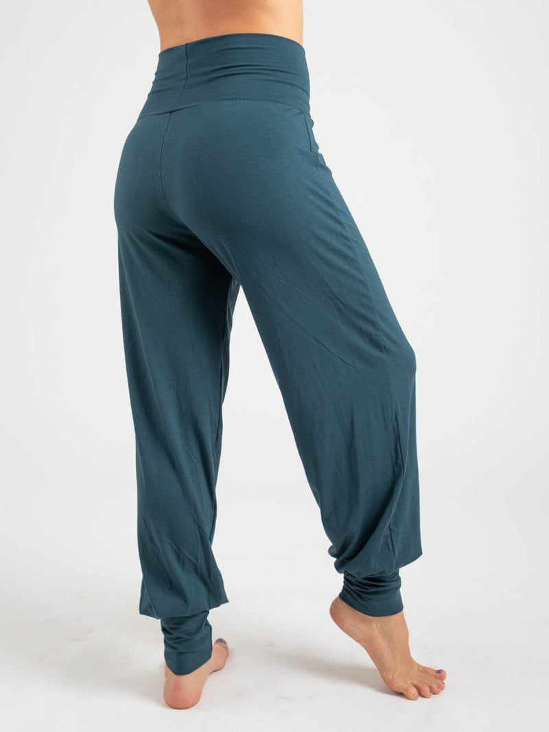 womens natural jersey comfortable loose fit balloon pants with fold over waistband in teal side view #color_teal