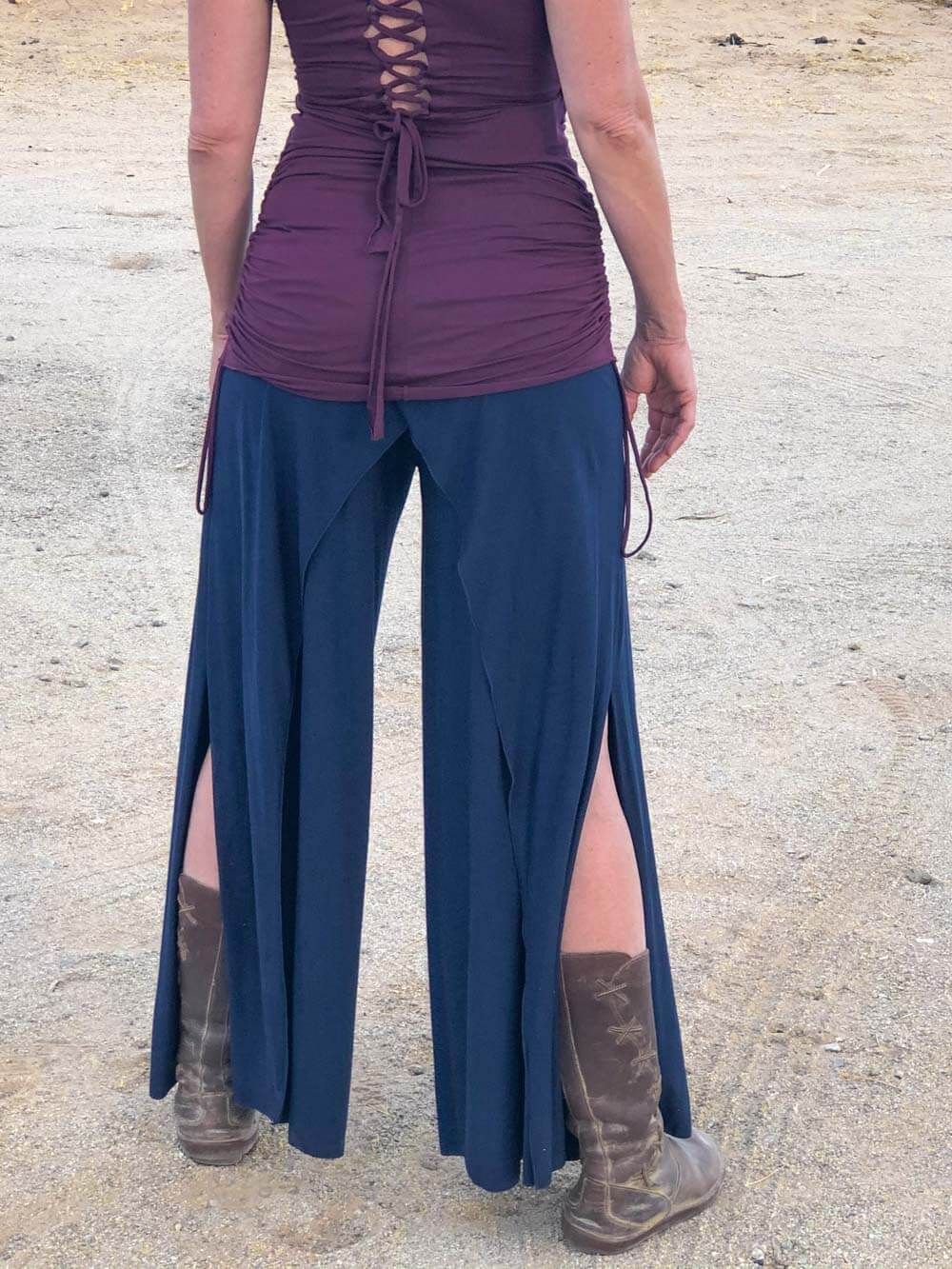 women's natural stretch rayon jersey wide leg side slit elastic waistband pants #color_navy
