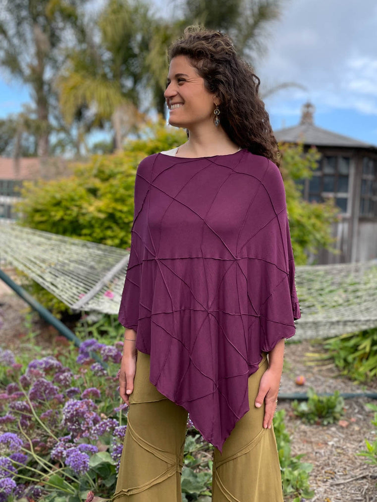 caraucci women's plant based rayon jersey purple textured poncho can be worn multiple ways; dress, skirt, halter top #color_jam