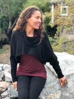 caraucci women's bamboo cotton fleece black dolman cowl shrug with thumbholes