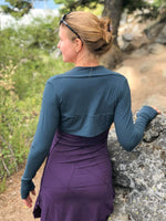 women's plant based rayon jersey stretchy teal blue sleeve shrug with thumbholes #color_teal