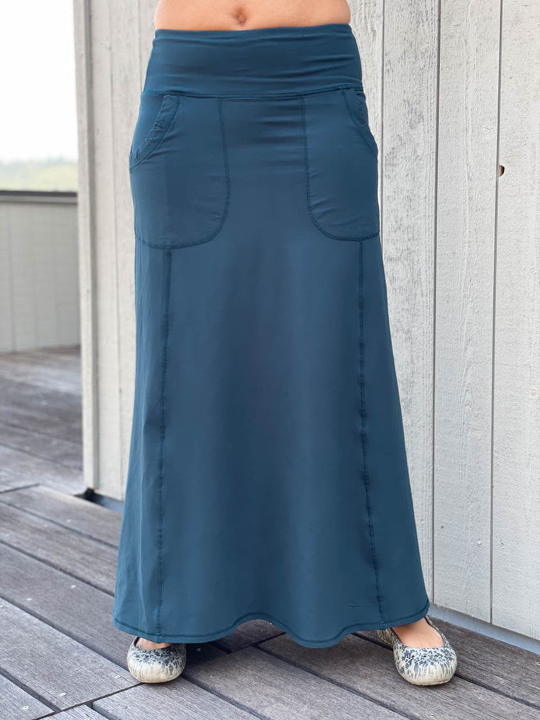 caraucci women's bamboo spandex stretchy long teal skirt with two pockets #color_teal