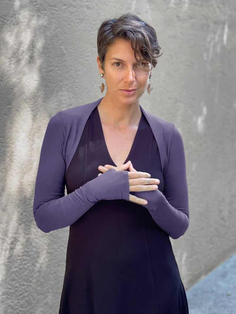 women's plant based rayon jersey stretchy steel grey sleeve shrug with thumbholes #color_steel