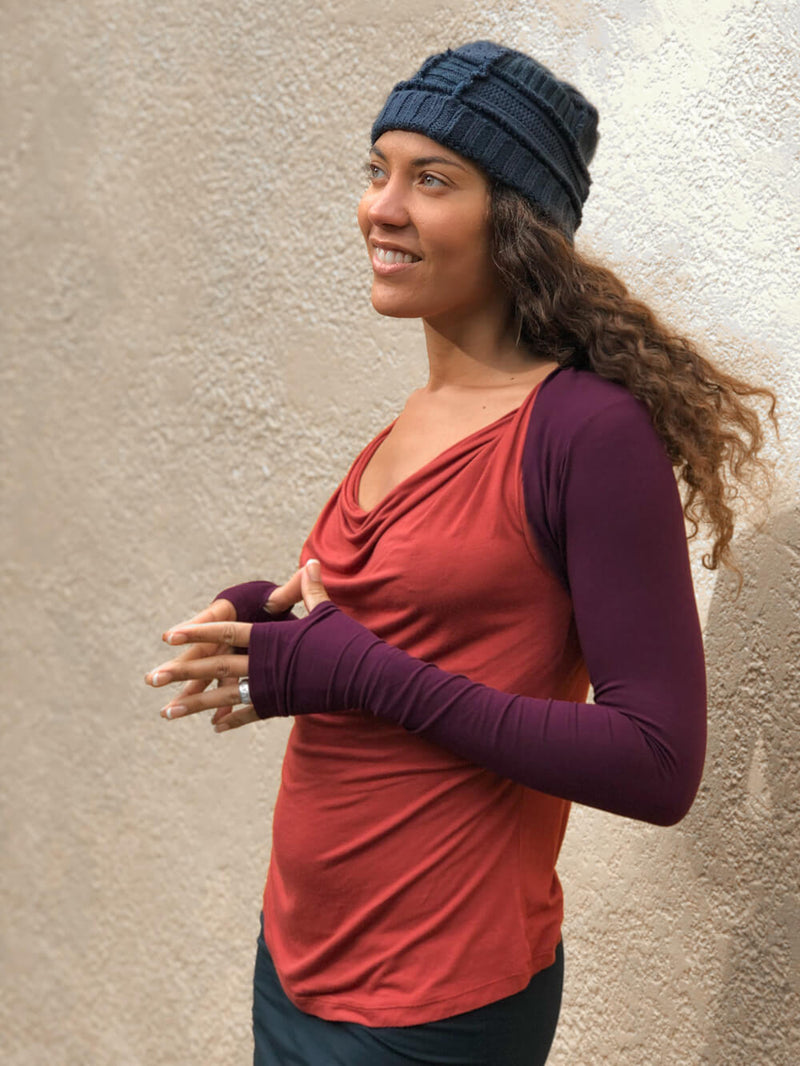 women's plant based rayon jersey stretchy purple sleeve shrug with thumbholes #color_jam