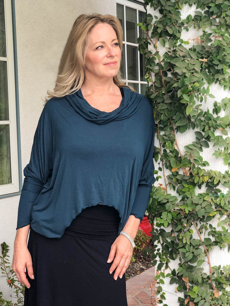 women's natural lightweight rayon jersey cowl neck loose fit top with thumbholes #color_teal