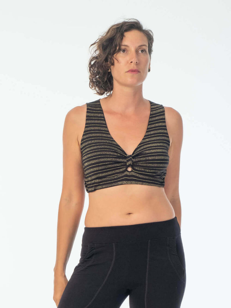 This supportive soft gold stripe rayon jersey top has a generous cut and can be worn on it's own or as a bra #color_black