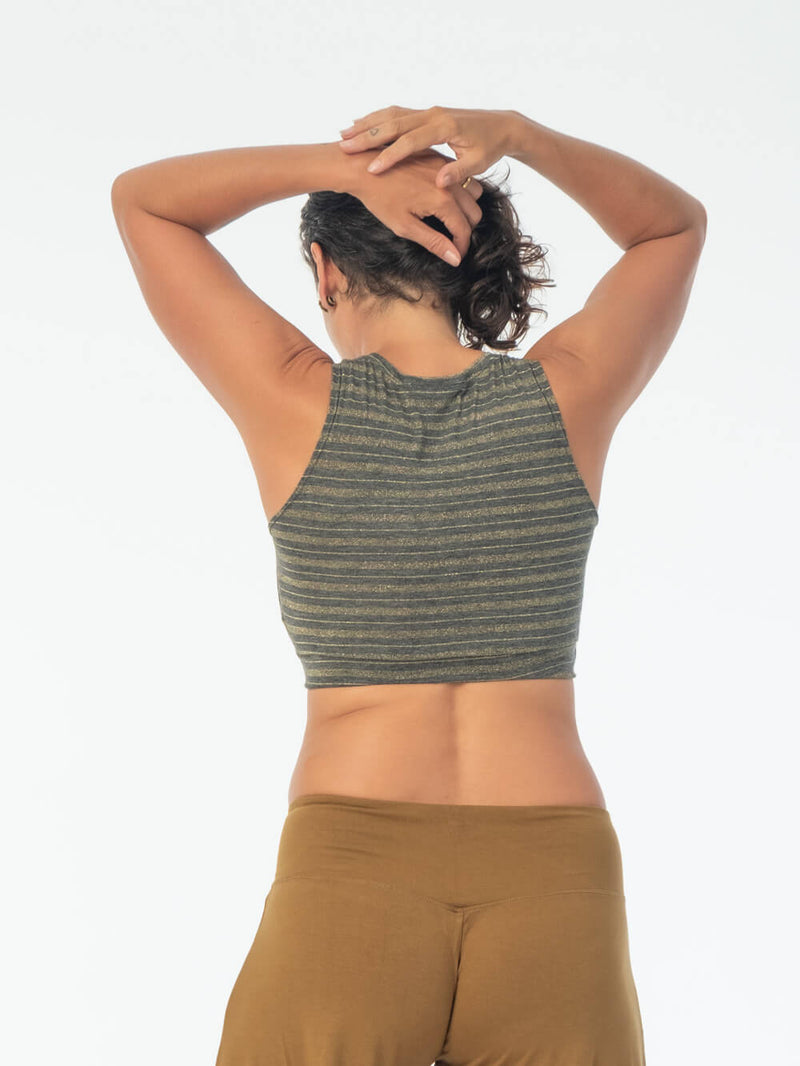 This supportive soft gold stripe rayon jersey top has a generous cut and can be worn on it's own or as a bra #color_silver-grey