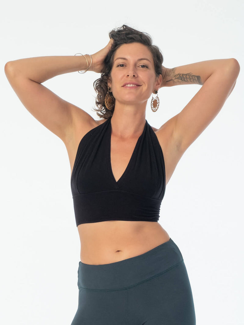 women's stretchy plant based rayon jersey halter bra top in black #color_black