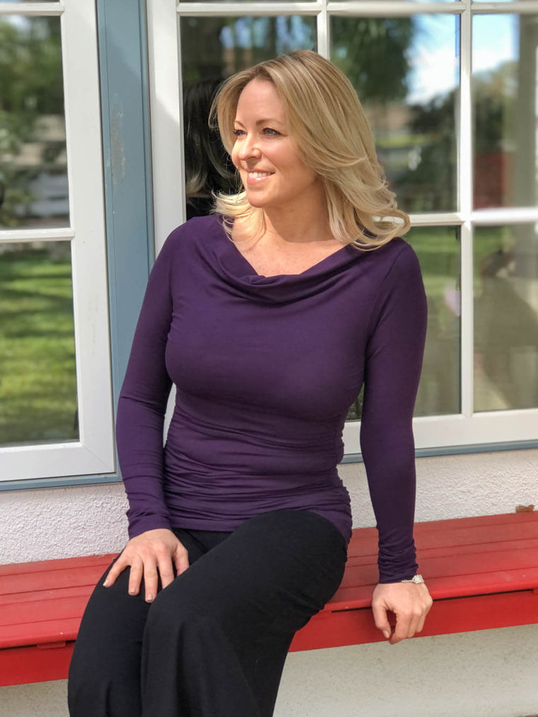 women's plant based rayon jersey long sleeve purple top with slight cowl neck and side ruching #color_plum