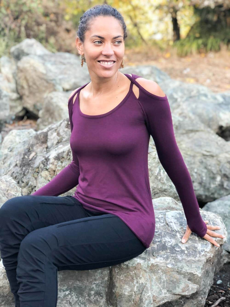 women's plant based stretchy rayon jersey long sleeve peekaboo shoulder purple top with thumbholes #color_jam