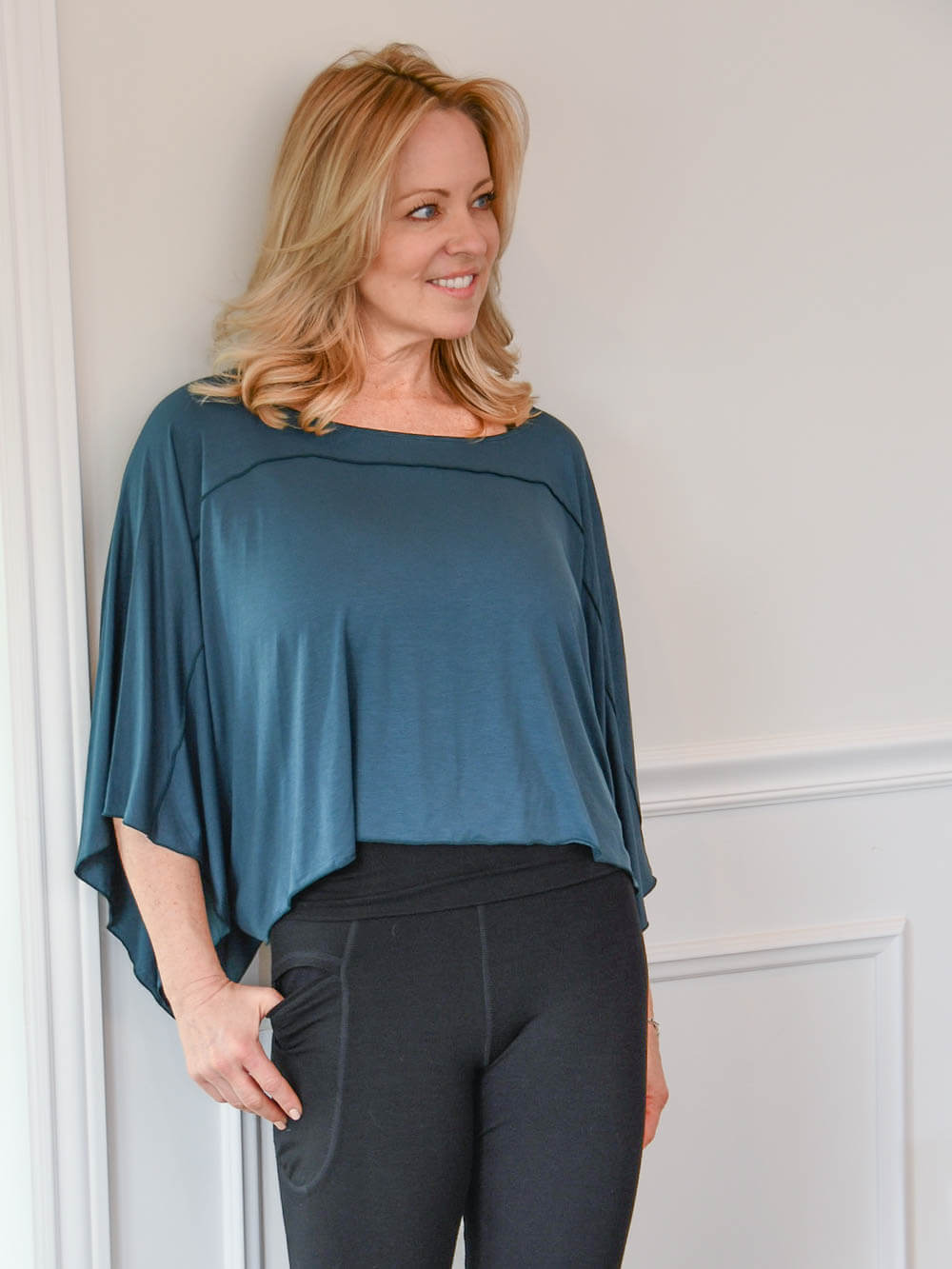 CARAUCCI womens natural rayon jersey loose fit top in one size shown in teal #color_teal