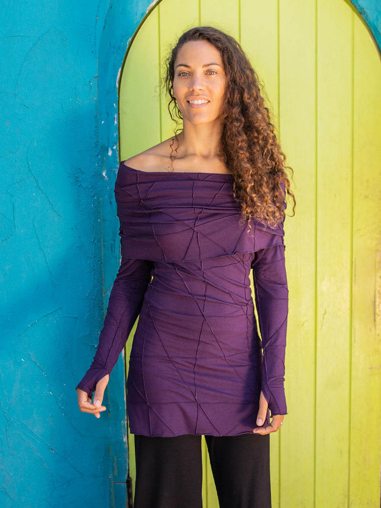 women natural rayon jersey textured tunic with long sleeves and versatile cowl neck  #color_plum