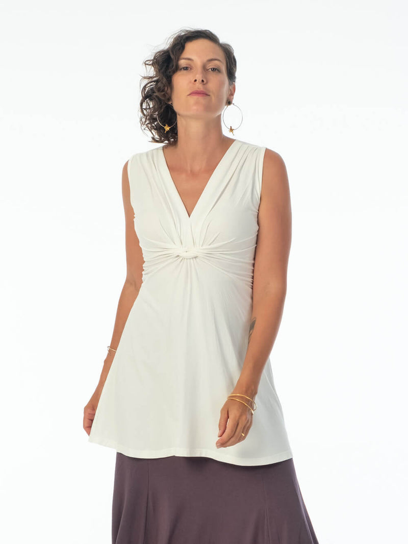 women's plant based stretchy rayon jersey v-neck twist front wide band off white sleeveless tunic #color_off-white