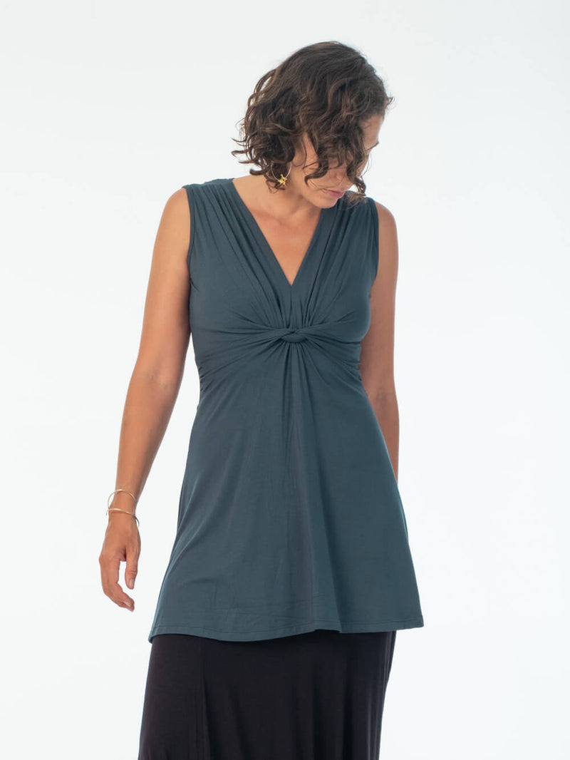 women's plant based stretchy rayon jersey v-neck twist front wide band teal blue sleeveless tunic #color_teal