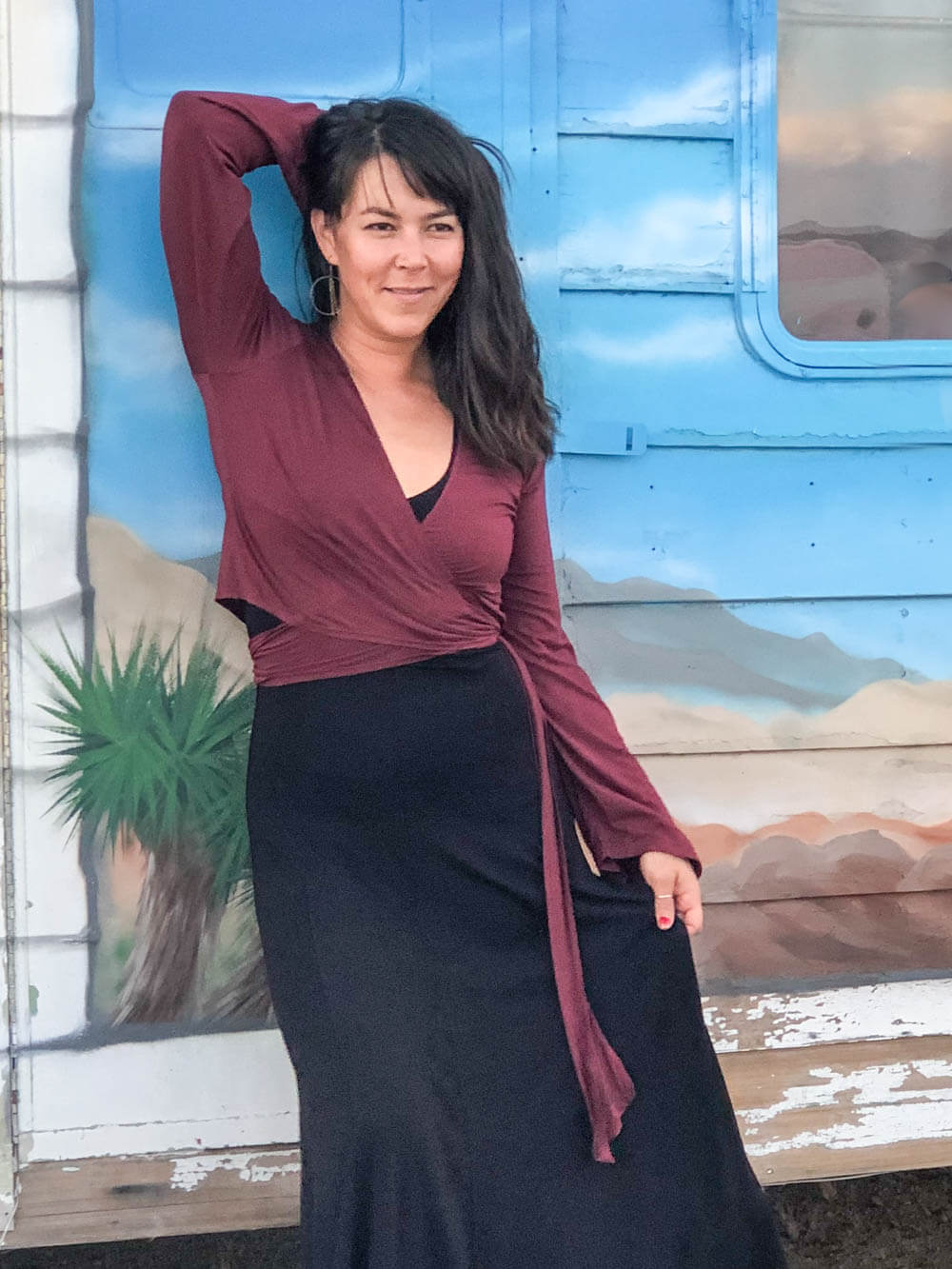 womens plant-based rayon  jersey wrap shrug can be worn as a top in wine #color_wine