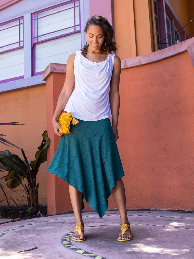 women's plant based rayon jersey stretchy asymmetrical jasper green midi skirt with fold-over waistband #color_jasper
