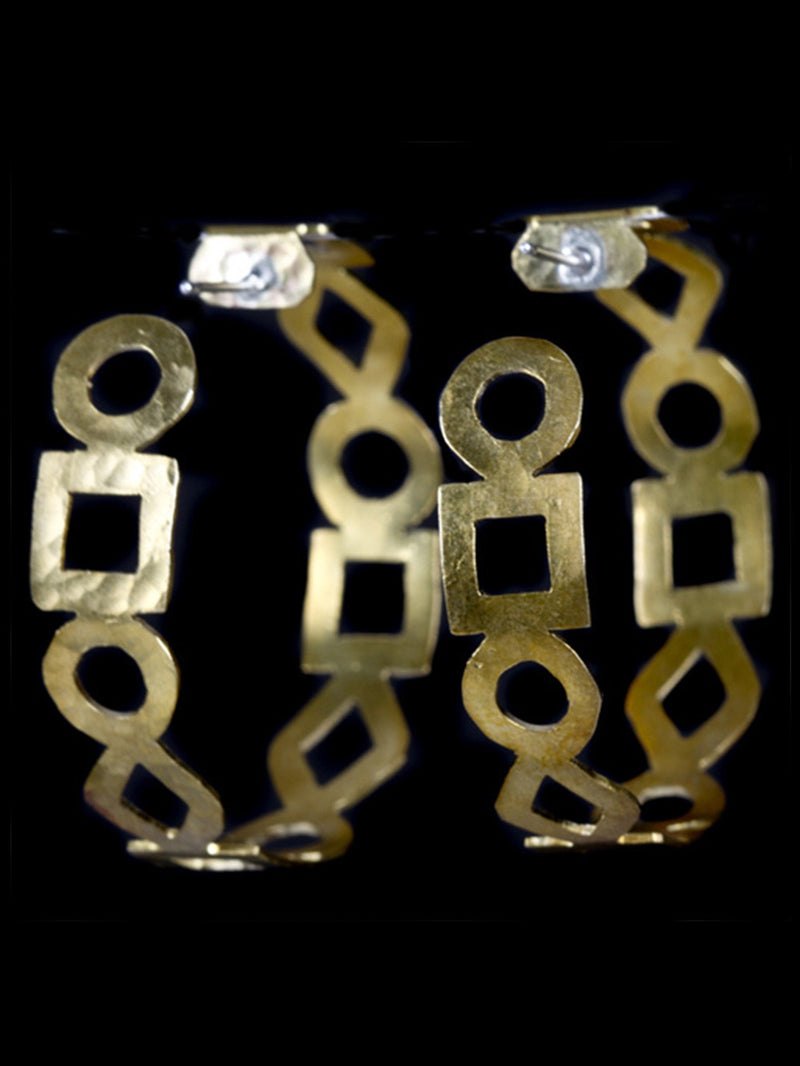 Square and Circle Cut Hoop Earrings in Brass