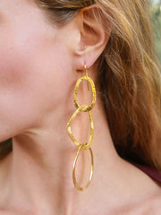 Glam Three Hoop Dangle Earrings in Brass