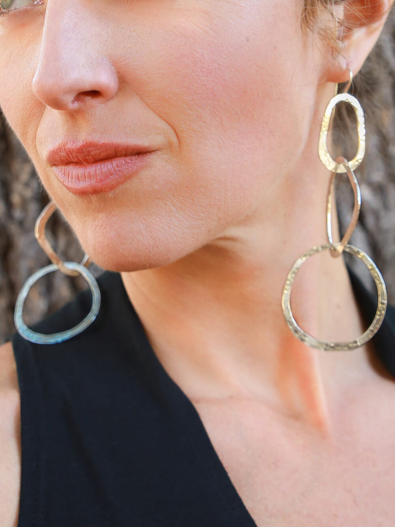 Glam Three Hoop Dangle Earrings in White Brass