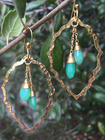 Gemstone Scallop Earring with Chrysoprase Dangles in Gold