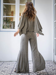 Gold Stripe Slit Pants