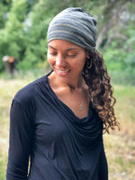 women's subtle gold striped grey stretchy beanie #color_silver-grey
