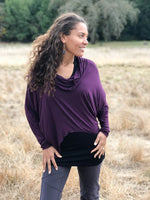 women's natural lightweight rayon jersey cowl neck loose fit top with thumbholes #color_berry