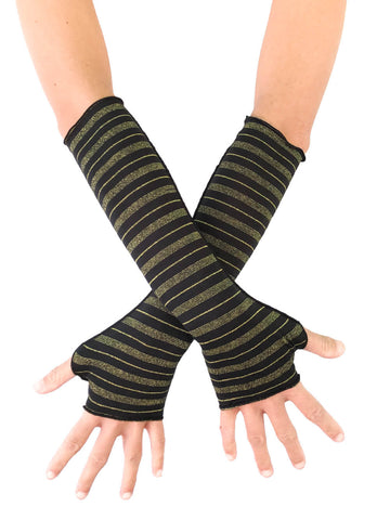 Gold Stripe Fingerless Gloves