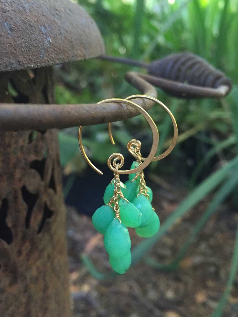 Gemstone Swirl Earring with Chrysoprase Dangles in Gold