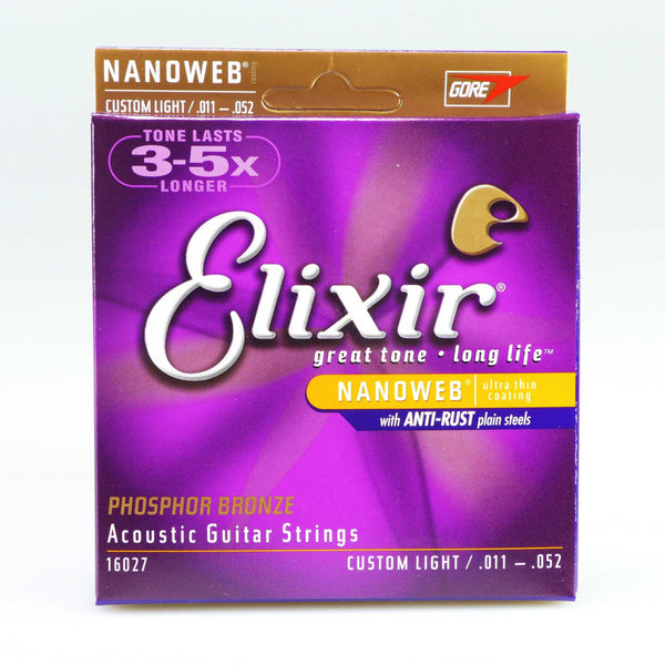 Elixir 16027 Nanoweb Custom Light Phosphor Bronze