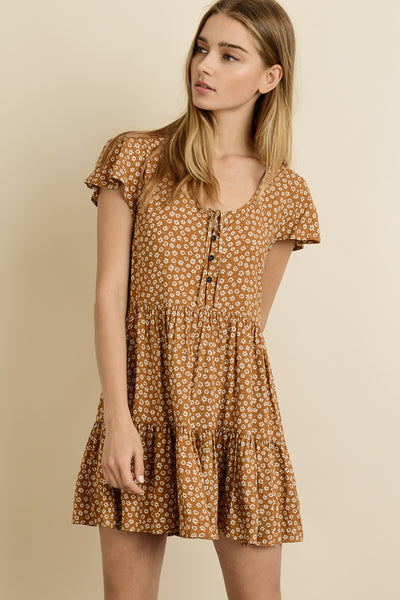 Dani Mini Floral Dress, Camel