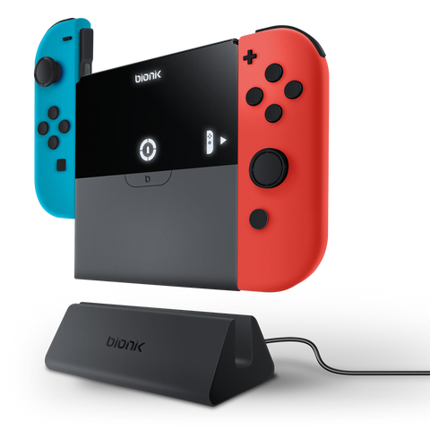 Power Plate charging Joy-Con controllers with charge dock