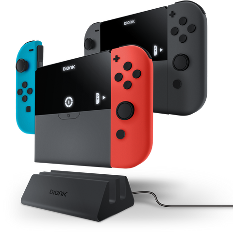 Power Plate Duo charging Joy-Con controllers with charge dock
