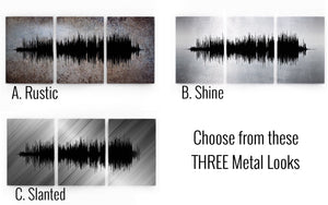 Modern Metal Wall Art, Metal Anniversary Gift, Three Piece Art Print Set, Custom Sound Wave | METAL
