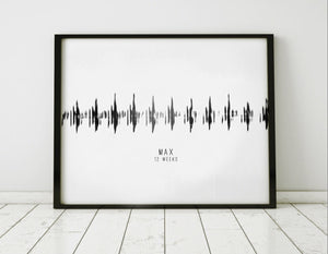Personalized Nursery Wall Art, Baby Heartbeat Sound Wave Print Modern Art Print | PAPER