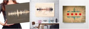 Wooden Anniversary Gifts for Him Sound wave on Birch Wood | WOOD