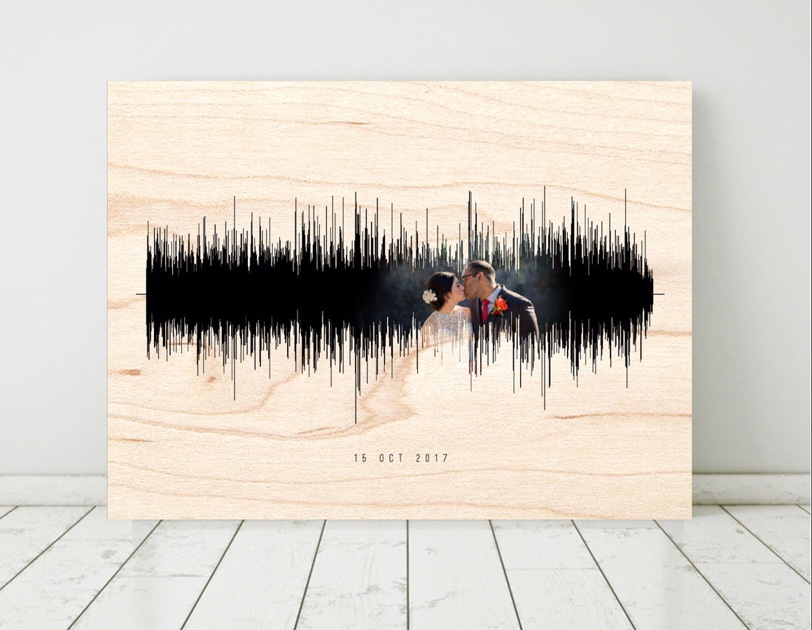 Wooden Anniversary Gifts Soundwave on Birch Wood Custom Look and Tone | WOOD