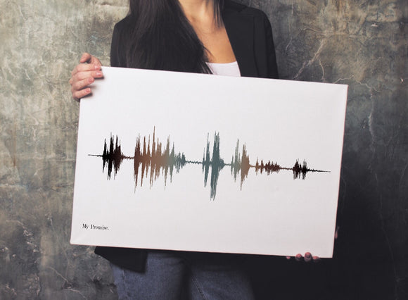 Cotton Anniversary Gift Idea, Modern Soundwave Print on Cotton Canvas | CANVAS