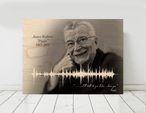 In Remembrance of a Loved One, Sound Art Memorial on Wood, Sound wave on Birch Wood | WOOD